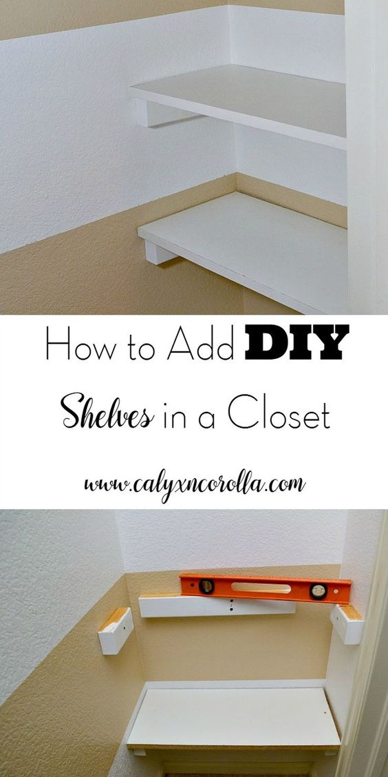 Add DIY shelves in a closet corner for additional storage and organization.