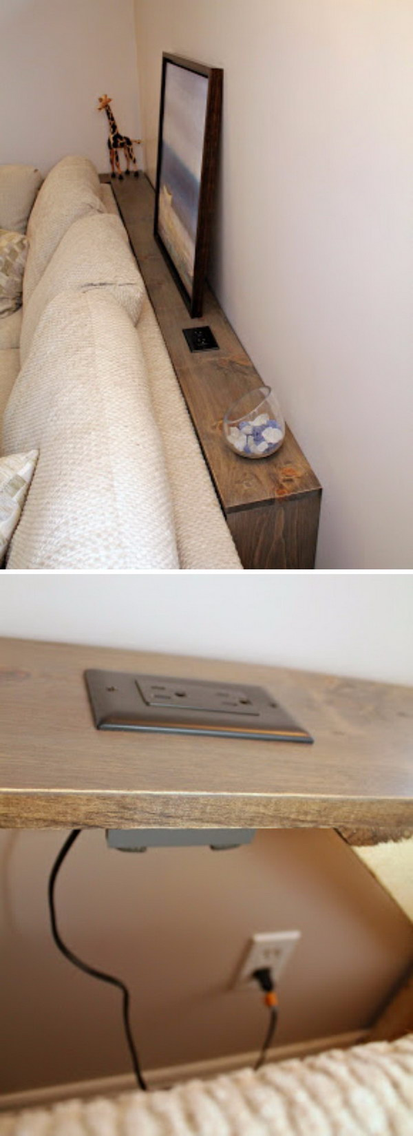 This DIY sofa table has a built in outlet which allows you plug in your electronics easily.