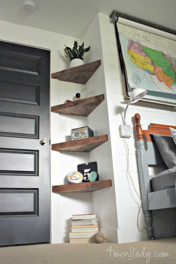 Use floating corner shelves to create more storage in an awkward small corner.