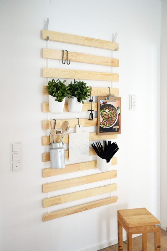 Wall Hanging Organizers Made From IKEA Bed Slats.