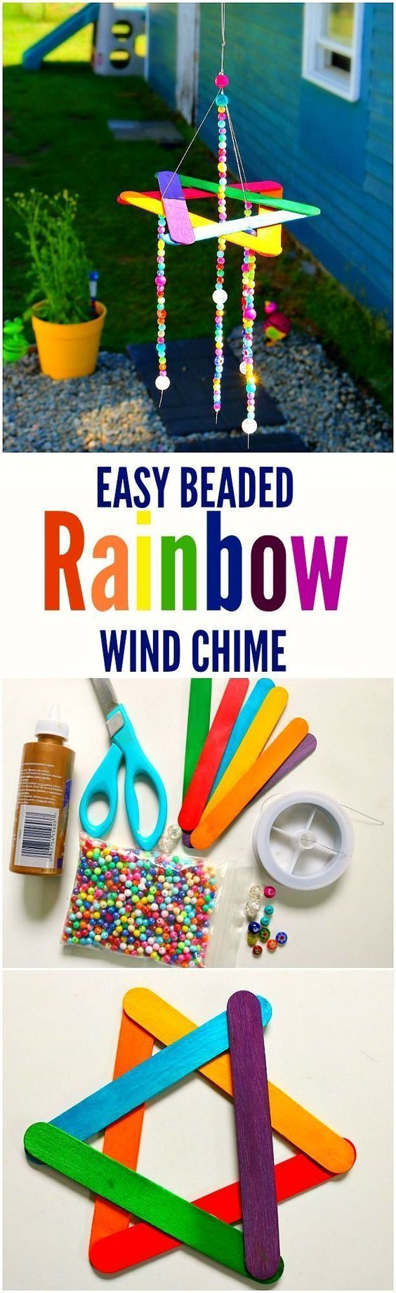 Easy Beaded Rainbow Wind Chime.