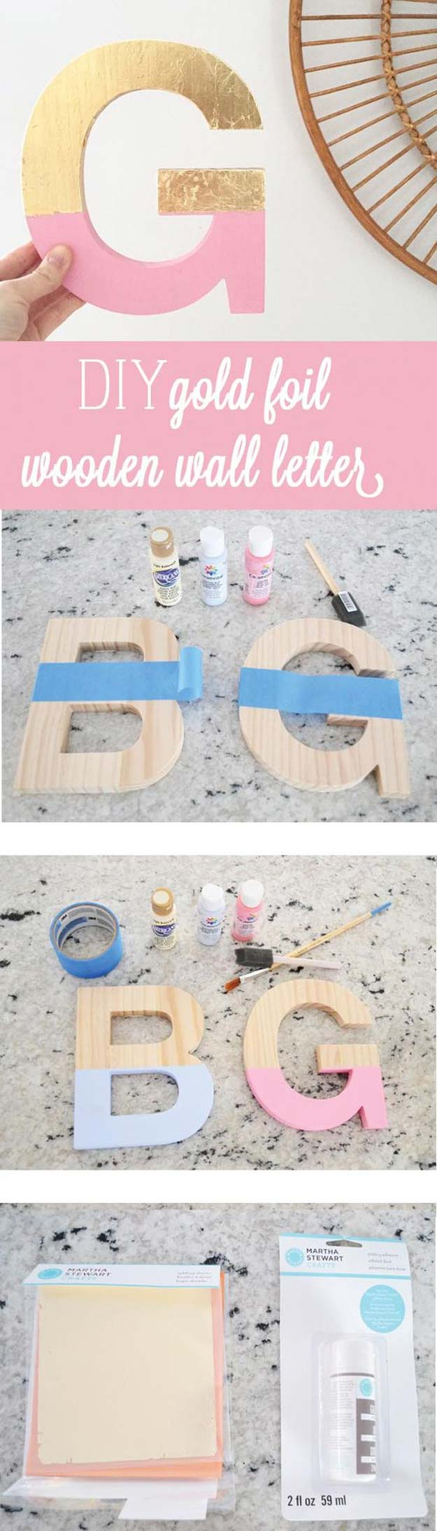 DIY Gold Foil Letter Art.