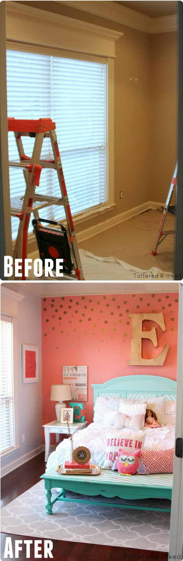 Coral & Aqua Girl's Room Makeover.