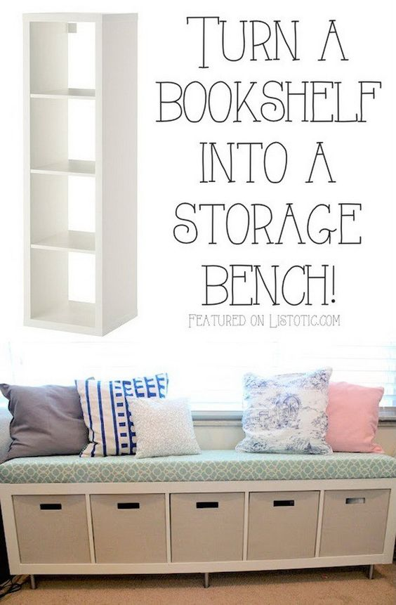 Turn A BookShelf Into A Storage Bench.