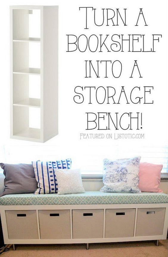 Turn A BookShelf Into A Storage Bench.