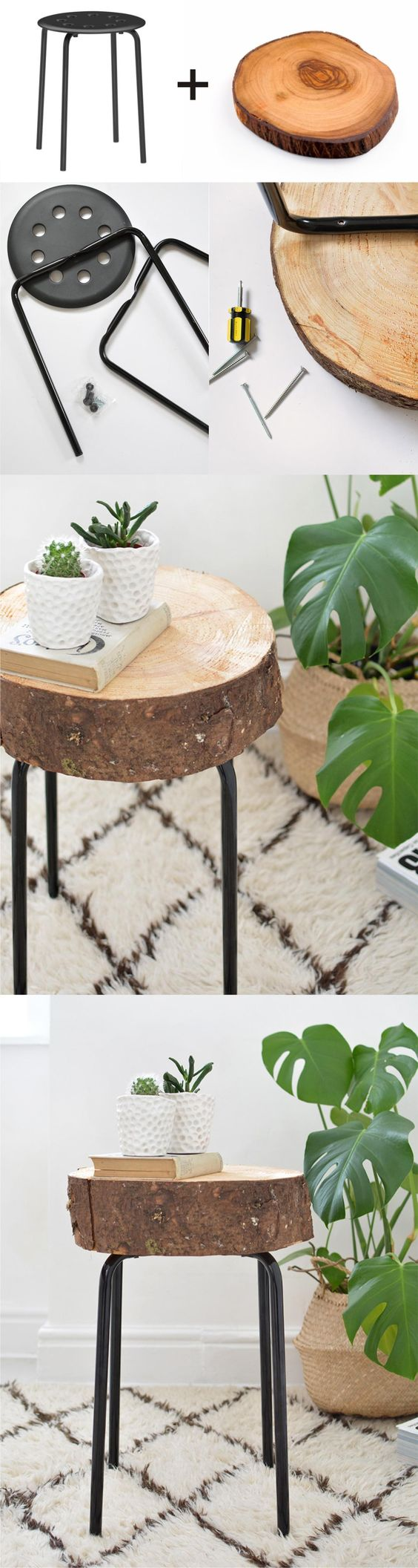 DIY Ikea Hack Wooden Stool.