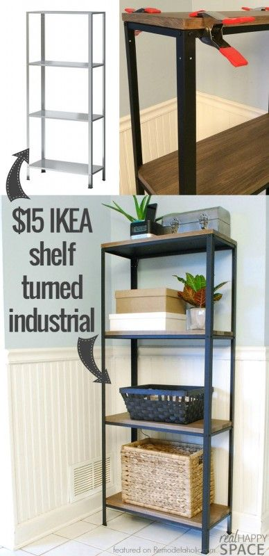 Wood And Metal Ikea Hack Industrial Shelf.