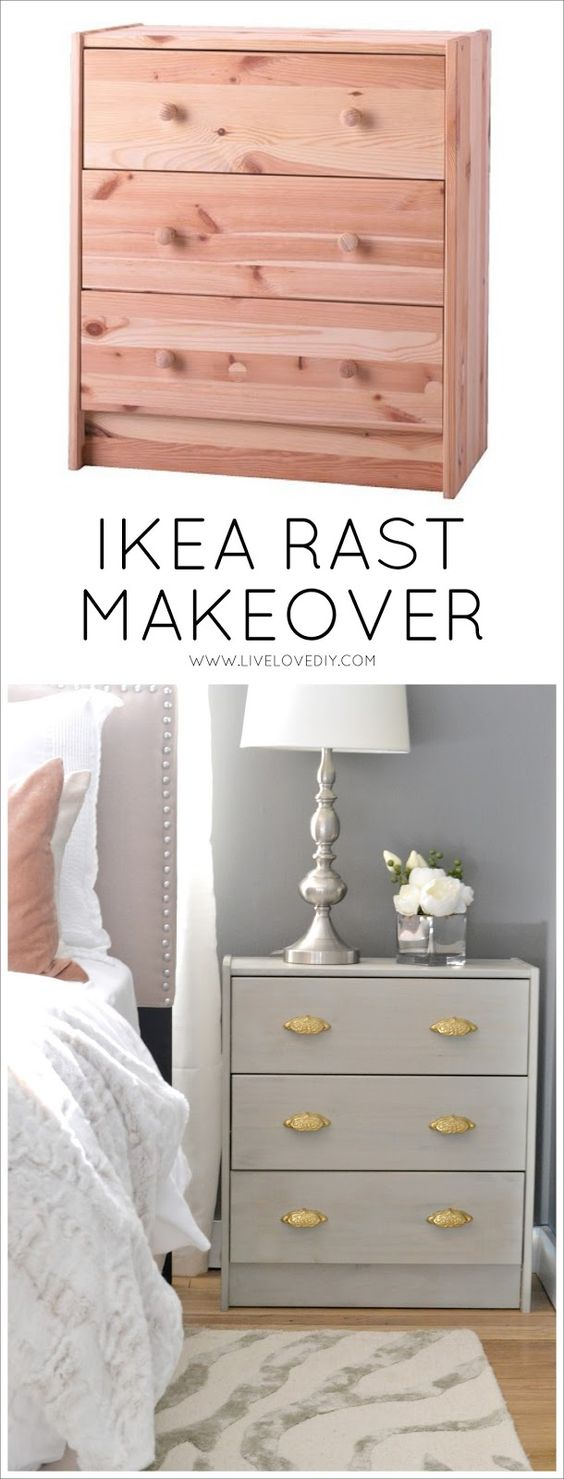 Easy Ways To Stain A Plain Ikea Nightstand Gray For A Weathered Look.