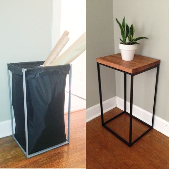 DIY Side Table From Old Ikea Laundry Hamper.