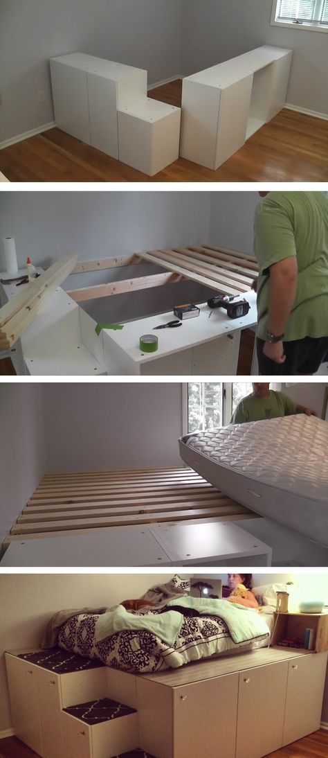 Transform IKEA Kitchen Cabinets Into A Platform Bed With Storage.