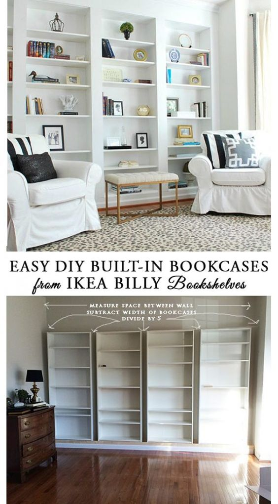 Easy DIY Built In Bookcases From Ikea Billy Book Shelves.