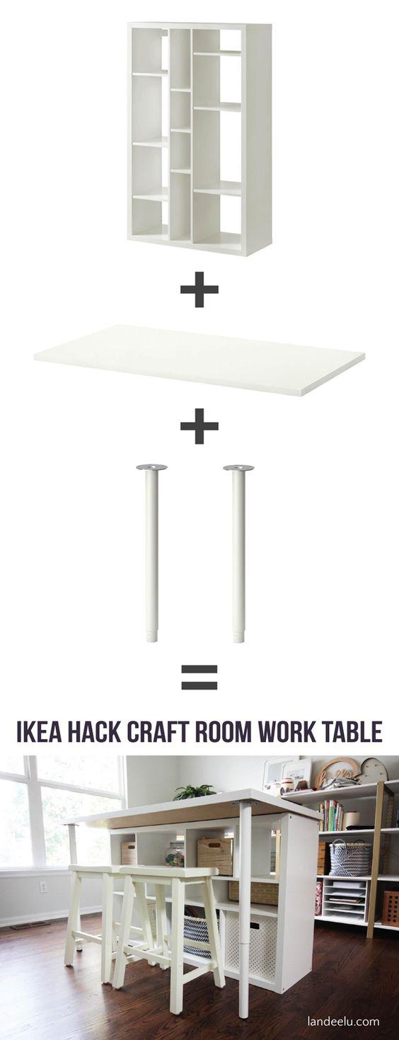 Ikea Hack Craft Room Work Table From Kallax Shelf.