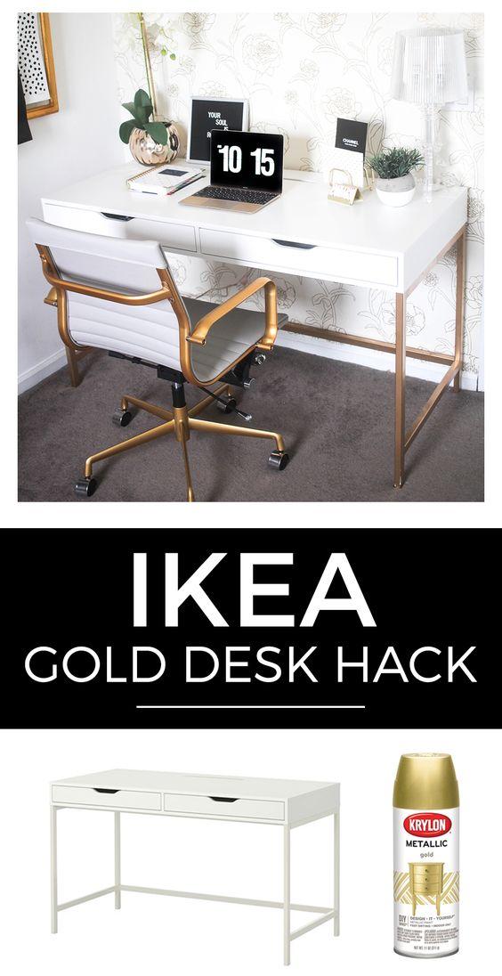 Ikea Hack White and Gold Desk.