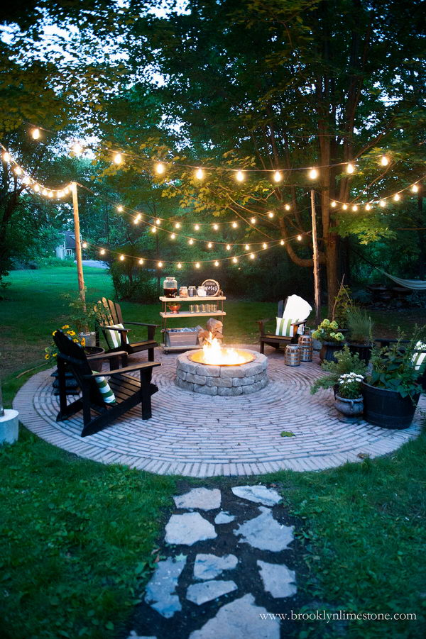 String Lights for a Country Cottage DIY Circular Firepit Patio.