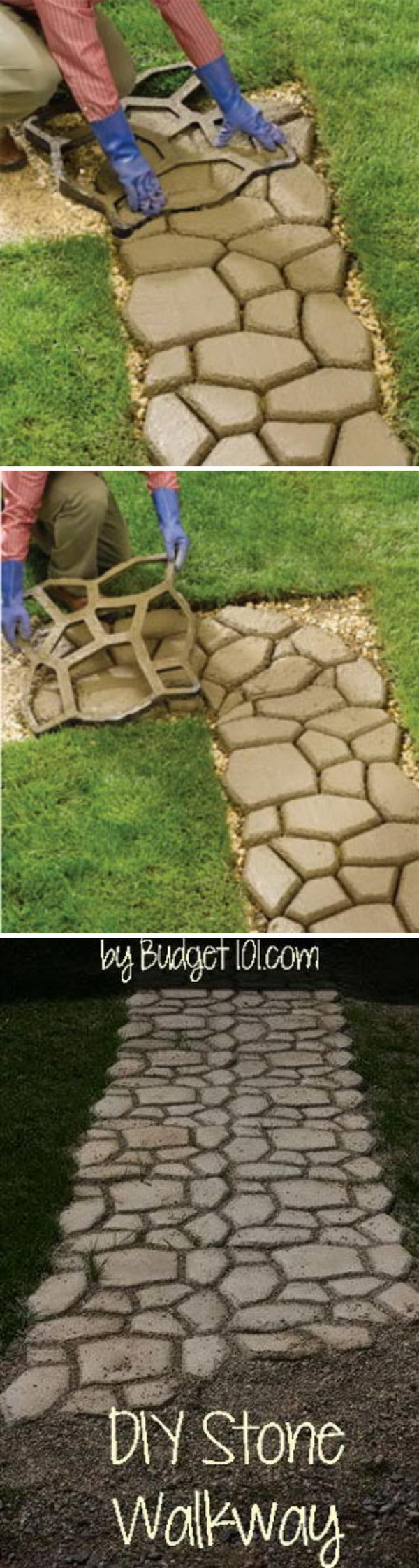 DIY Faux Stone Walkway with Concrete.