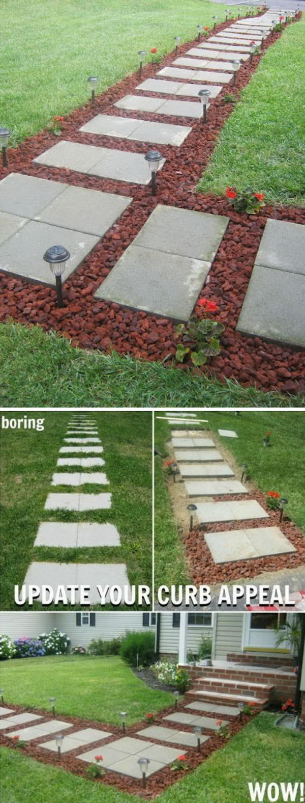 DIY Concrete Stepping Stone Squares Pathway With Lava Rocks.