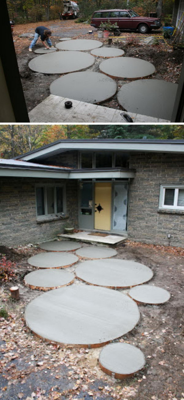 DIY Poured Cement Walkway.
