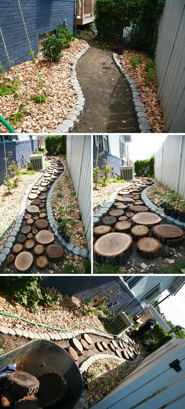 Recycled Wood Slice Garden Pathway.