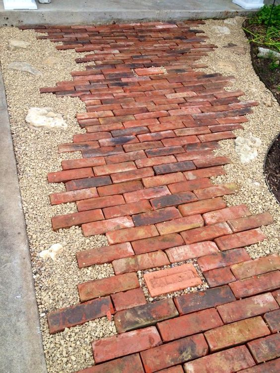 Brick Paver Pathway with Rocks Edged in Gravel.