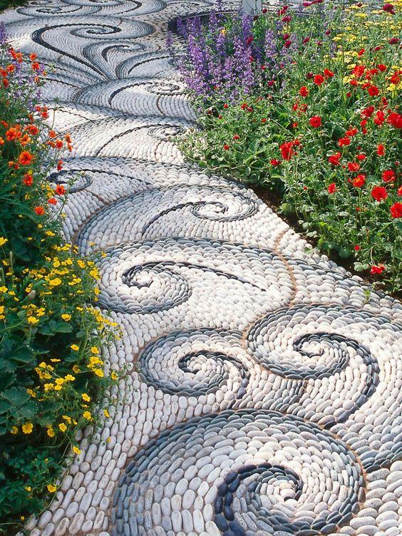 Cobblestone Mosaic Waves Pathway.