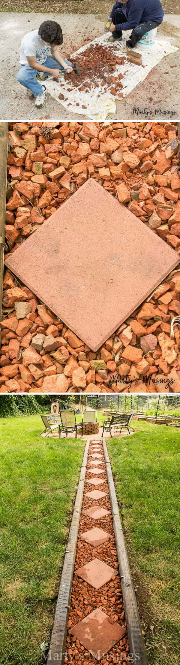 Make Your Own Brick Pathway For Under $50.