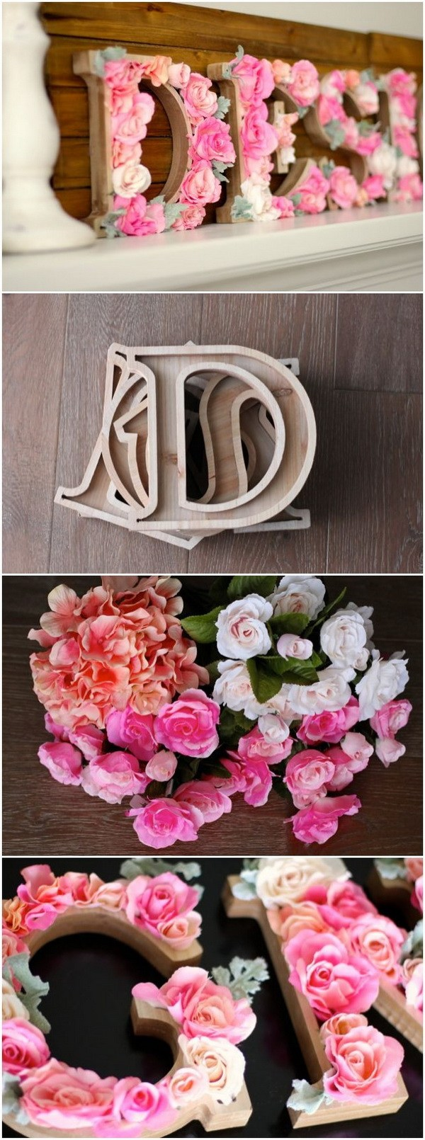 DIY Rustic Letters With Flowers For Wall Decoration.