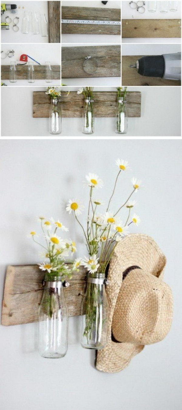 Rustic Milk Bottle Floral Holder.