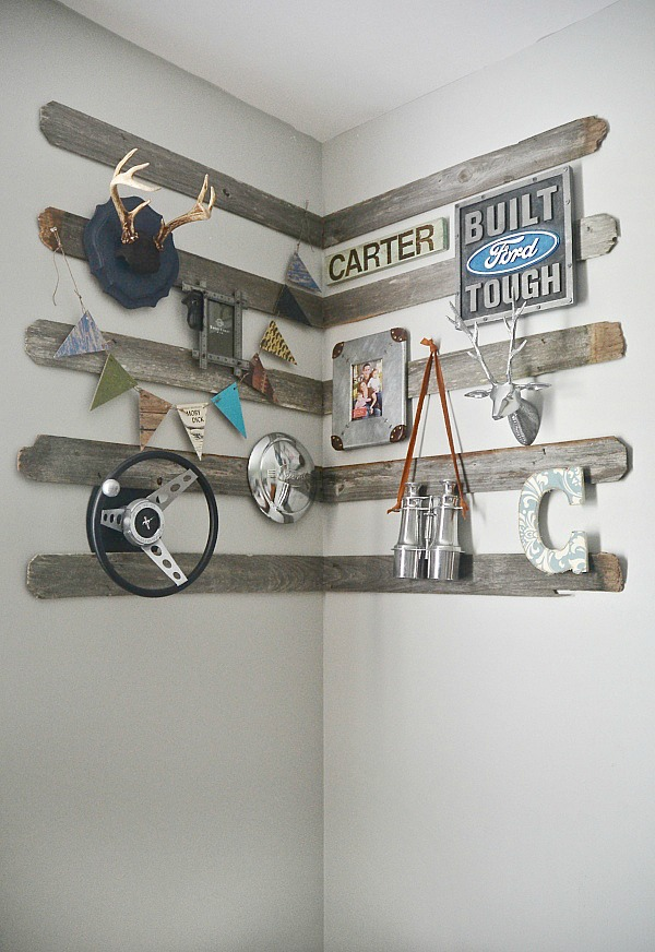 DIY Rustic Barn Wood Corner Gallery Wall.