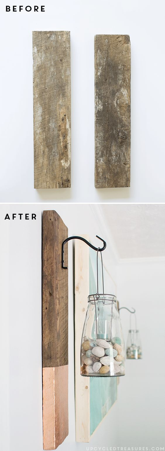 DIY Rustic Wall Hanging from Salvaged Wood.