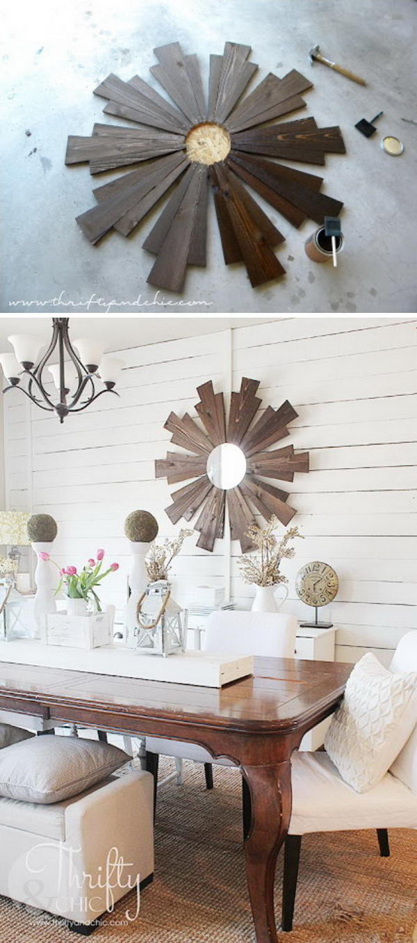 DIY Wood Sunburst Mirror.