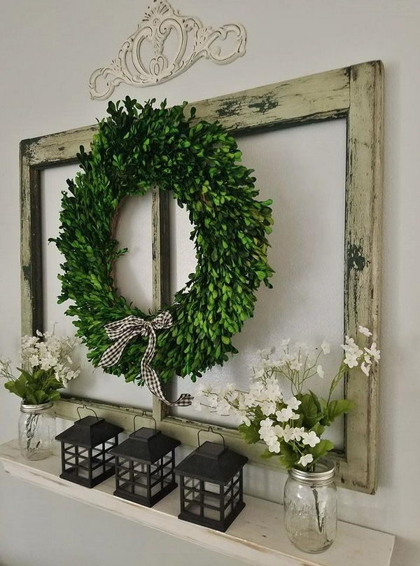 Rustic Wall Decoration with Old Window and DIY Shelf .