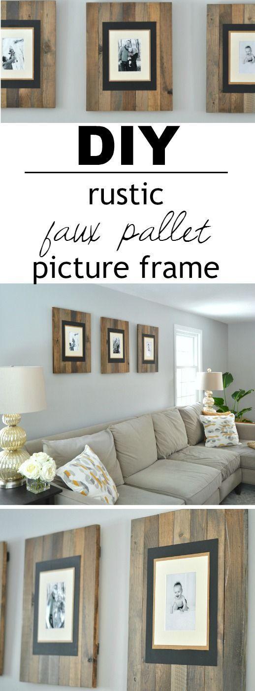 DIY Rustic Faux Pallet Picture Frames.