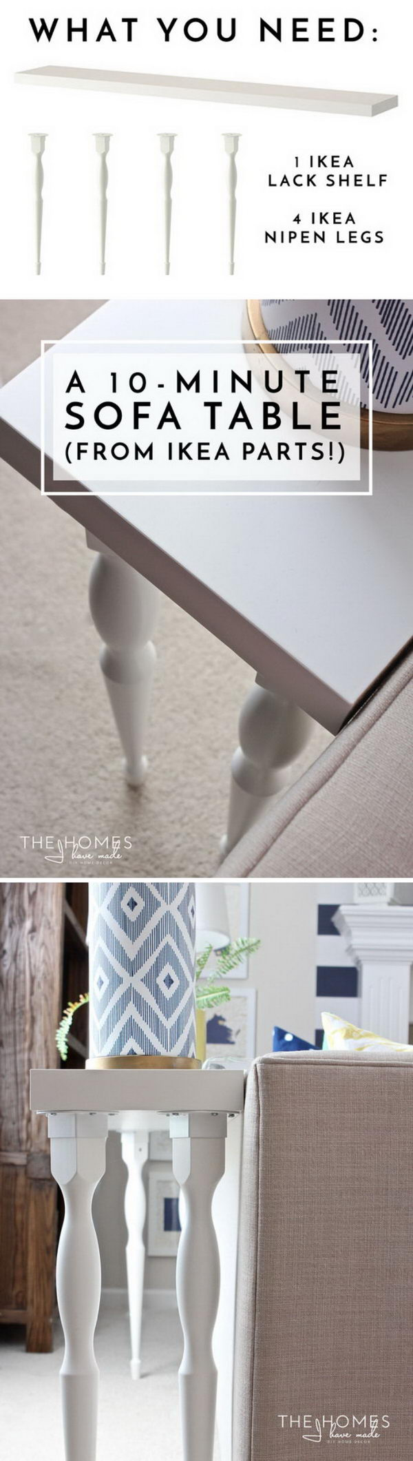 DIY Sofa Table Using Ikea Parts.
