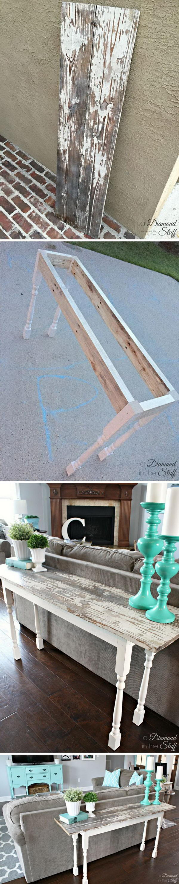 DIY Salvage Sofa Table.