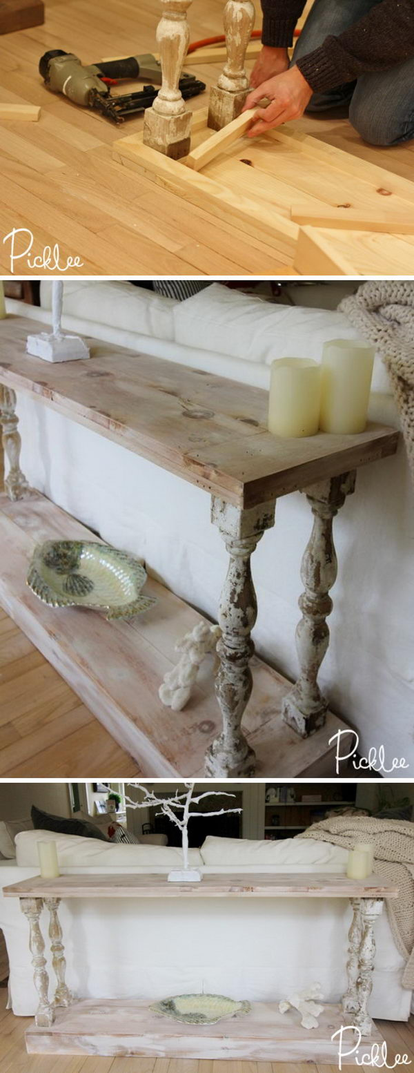DIY Reclaimed French Country Sofa Table.