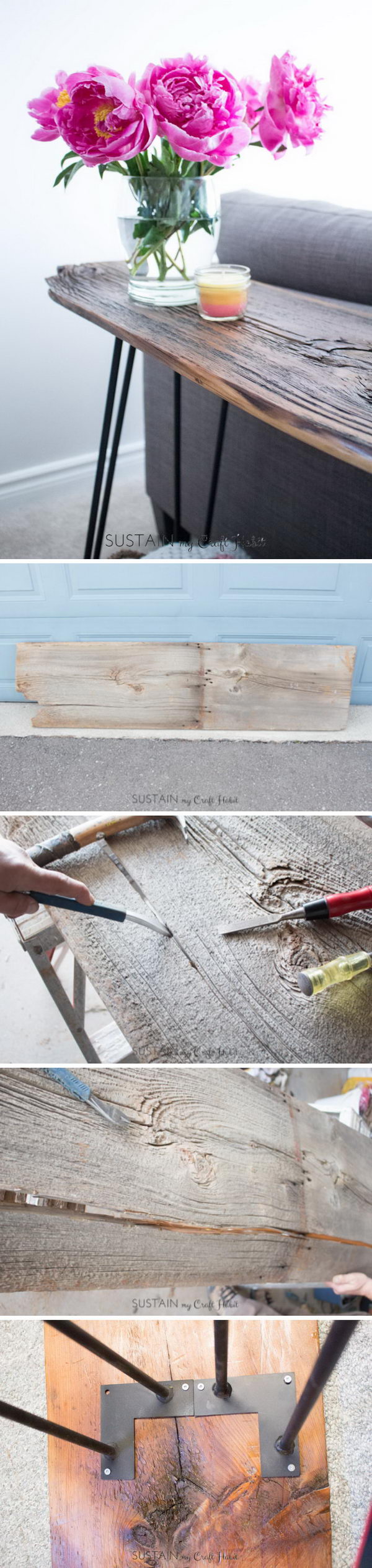 DIY Reclaimed Barn Wood Hairpin Leg Console Table.