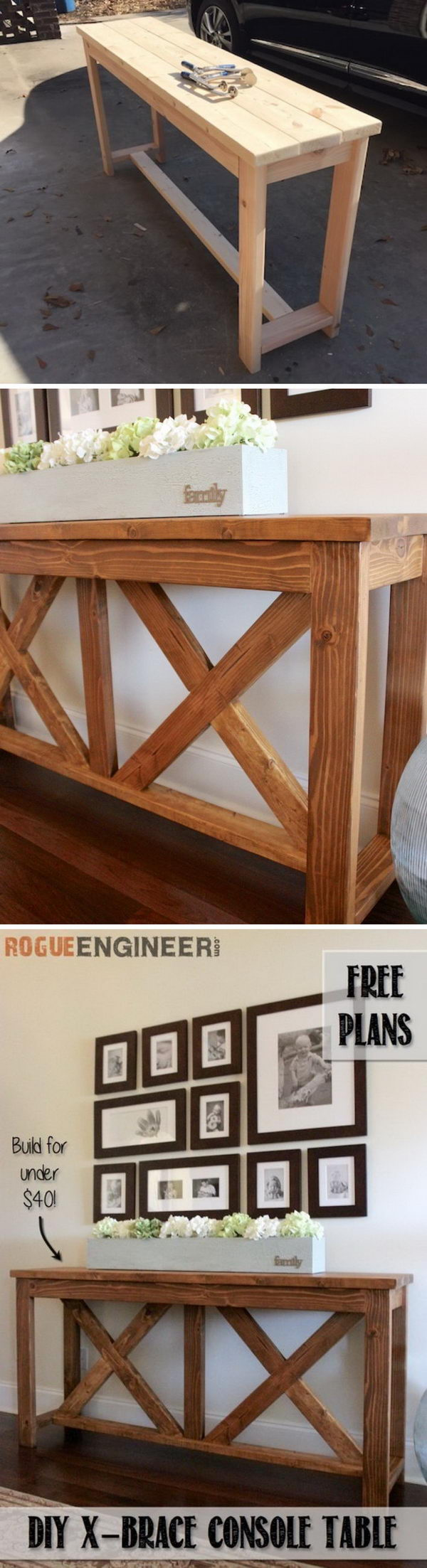 DIY X brace Console Table.