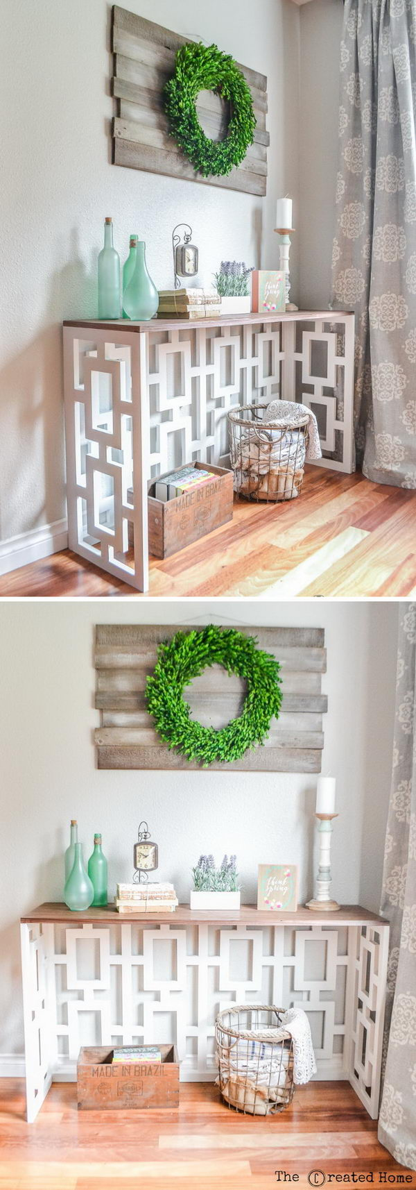 DIY Fretwork Console Table.