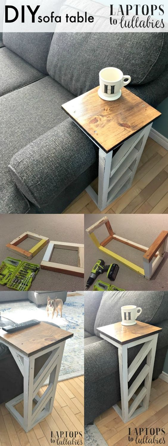 Easy DIY Table That Slides Under The Edge Of The Couch.