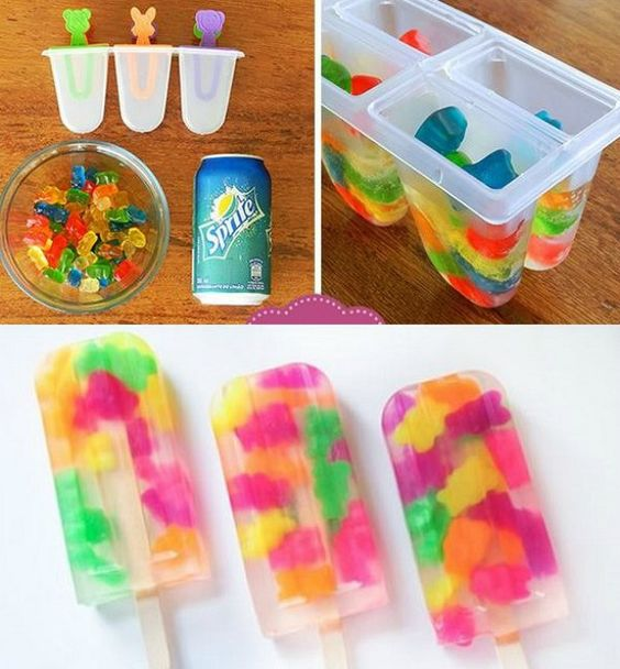 Gummy Bear Popsicles With Sprite.