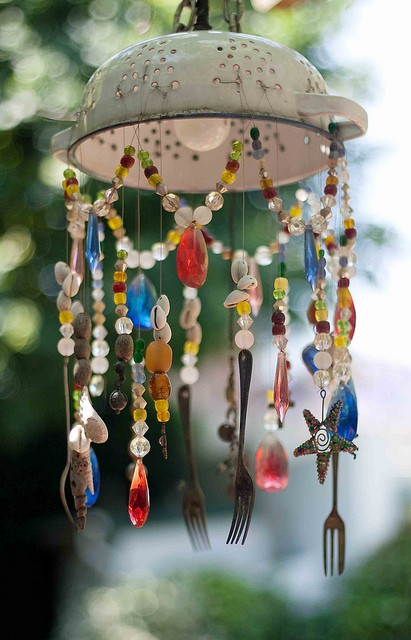 DIY Wind Chime from a Kitchen Colander, Some Silverware, Beads and Shells.