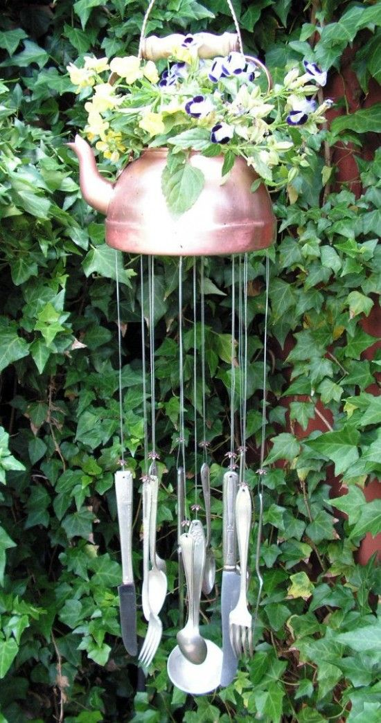 DIY Upcycled Teapot Wind Chimes.
