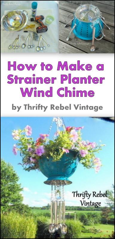 DIY Strainer Planter Wind Chime.