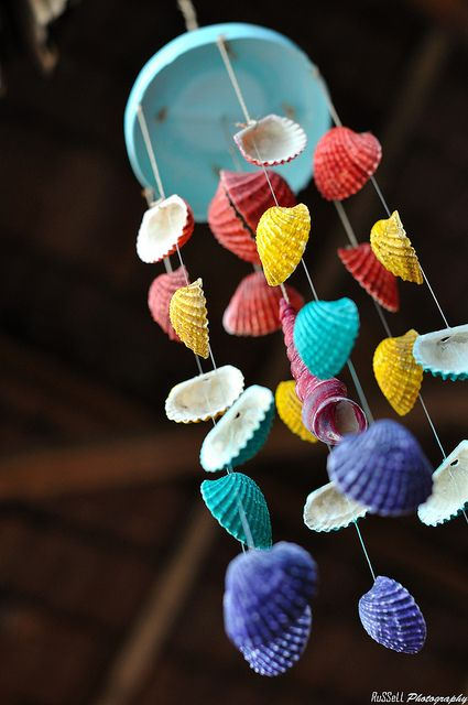 DIY Colorful Seashell Wind Chime.