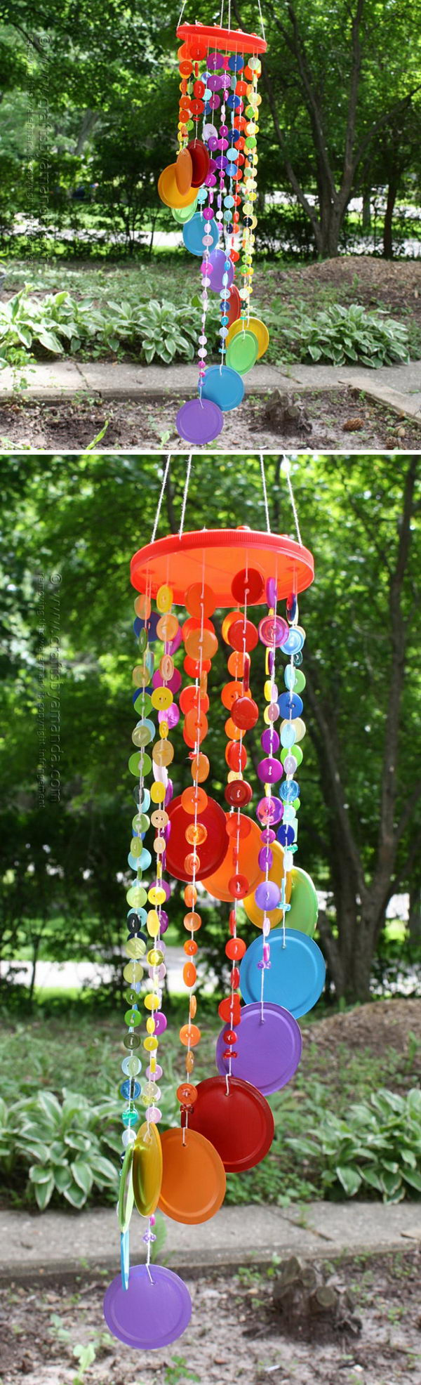 Rainbow Button Wind Chime.