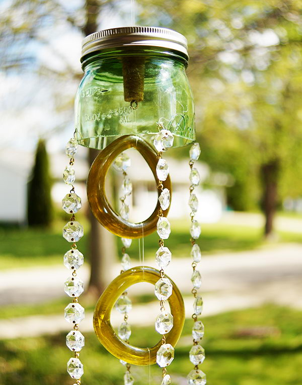 Green Mason Jar and Recycled Wine Bottle Wind Chimes.