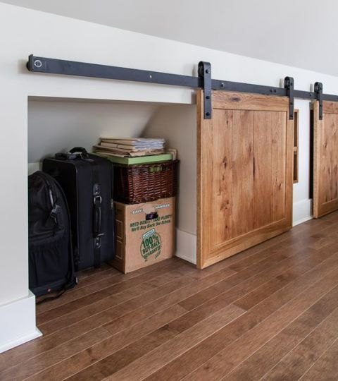 Add Sliding Barn Doors to Cover Knee Wall Storage.