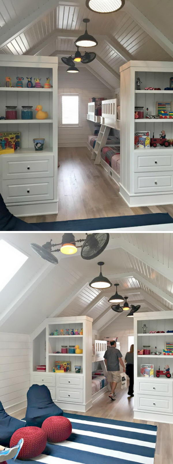 Add Bookcases at The End of The Bunk Beds in The Attic.