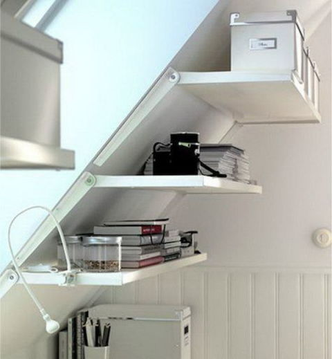Use Storage Shelves on Sloping Wall for Attic Home.