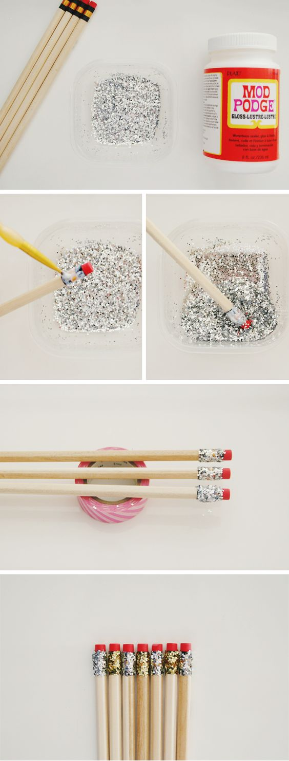 DIY Glitter Pencils.